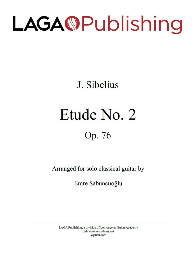 Etude No. 2, Op. 76 by J. Sibelius for solo classical guitar